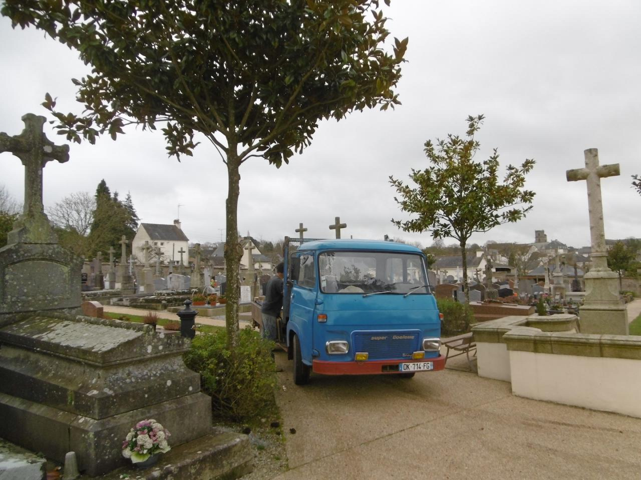 Arriving at the cemetery