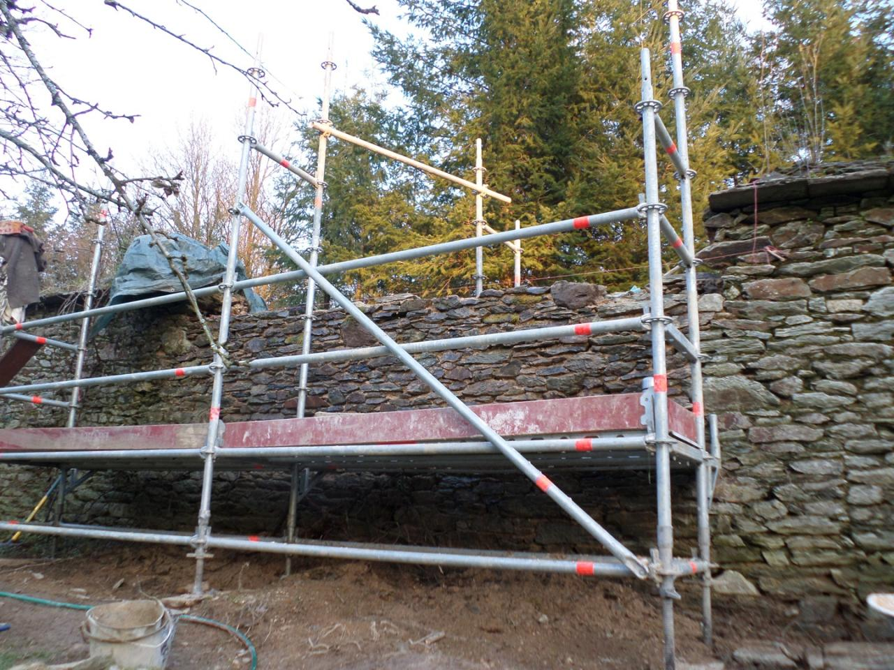 Scaffolded wall in restauration